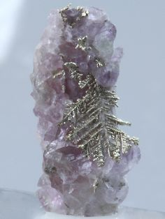 ELECTRUM (a silver rich variety of Gold) with FLUORITE. From Skara Prospect, Ovre Eiker, Buskerud, Norway, Europe