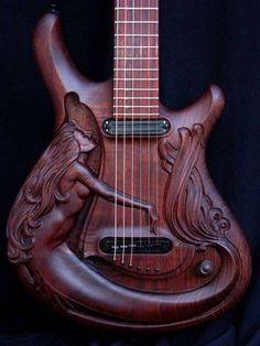 Mermaid Carved In Guitar