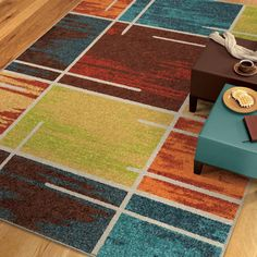 Carolina Weavers Brighton Collection Rainbow Square Multi Area Rug (7'10 x 10'10) (7 ft 10 in x 10 ft 10 in), Beige, Size 8' x 10' (Plastic, Geometric)