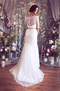 """Absolutely Stunning 3/4 Sleeve Off the Shoulder French Lace and Organza Trumpet Gown with bias Silk, the """"Marisol-Celeste"""" by Schone. $4,228.00, via Etsy."""