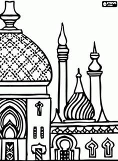 Coloriage Minarets, les tours de la mosquée