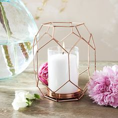 Copper Geometric Candle Holder Lantern - items for your home