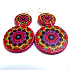 Handmade Original Earrings, Fuschia, Yellow Mandala Earrings, Decoupage Jewelry