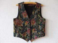 Vintage 80s Tapestry Vest Romantic Roses Vest by VintageDreamBox