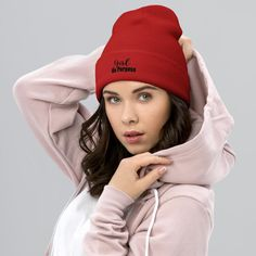 Girl On Purpose, Women Motivational Quotes - Cuffed Beanie - Red