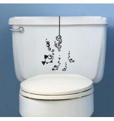 Sticker WC ver suspendu hameçon | Fanastick.com Black Bathroom Decor, Bathroom Paint Colors, Bathroom Accessories, Stickers Wc, Cool Car Stickers, Vinyl Wall Art, Wall Sticker, Wall Art Designs, Paint Designs