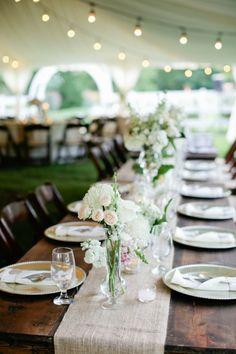 Burlap Table Runners | See the tented Cedarwood wedding on SMP - http://www.stylemepretty.com/little-black-book-blog/2014/01/02/rustic-tented-historic-cedarwood-wedding/ Kristyn Hogan Photography