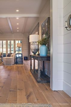 Wide Plank White Oak Hardwood Floor By Oak And Broad With Custom Stain | Teal Accent In Rustic Modern Southern Home | Discover more at http://OakAndBroad.com/nashville-tennessee-wide-plank-white-oak-flooring/