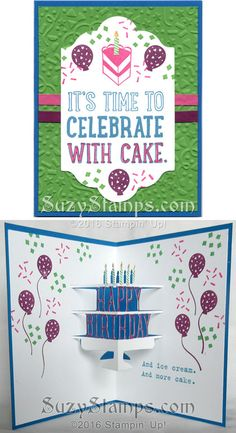 Stampin' Up! Cards - 2016-02 Class - Party With Cake and Party Wishes stamp sets, Party Pop-Up Thinlits Dies, Lots of Labels Framelits Dies, Party Punch Pack, Confetti Embossing Folder and Wink of Stella Clear Glitter Brush