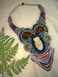 Bead Embroidery Necklace By Cathy Allain @ New Vintage Arts