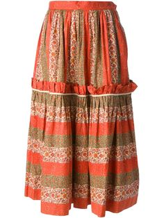 Multicolour cotton floral print peasant skirt from Yves Saint Laurent Vintage featuring a waistband with belt loops, a pleated design and side pockets.