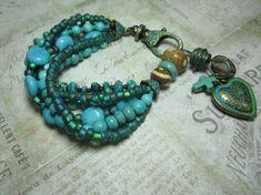 Turquoise Boho Beaded Chunky Gypsy Style Bracelet by BeadDazzlers