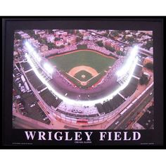 Wrigley Field Neon LED Framed Photographic Print