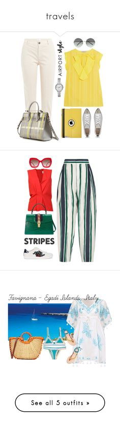 """""""travels"""" by xaia ❤ liked on Polyvore featuring Emilio Pucci, 7 For All Mankind, Strathberry, Chloé, Miu Miu, Michael Kors, Natico, airportstyle, Gucci and Maison Margiela"""