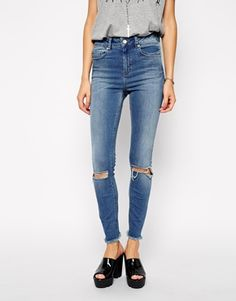 1bcc9f93ae56 ASOS Ridley Ankle Grazer Jeans in Gothenburg Mid Wash with Busted Knees and  Raw Hem Petite