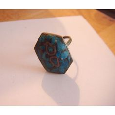 Vintage brass ring made in India one size 6 sided front turquoise stones