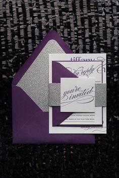 CYNTHIA Suite Glitter Package, Silver glitter, letterpress wedding invitation, calligraphy wedding invitation, purple, plum