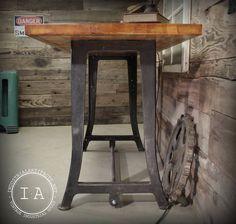 Vintage Industrial Work Bench Table Desk Cast Iron Machine Legs Maple Butcher Block Top Breakfast Bar. $1,500.00, via Etsy.