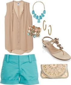 Turquoise and nude summer outfits women, short outfits, summer fashion outfits, stylish outfits Cute Summer Outfits, Summer Wear, Stylish Outfits, Spring Outfits, Spring Clothes, Style Summer, Outfit Summer, Beach Clothes, Spring Summer