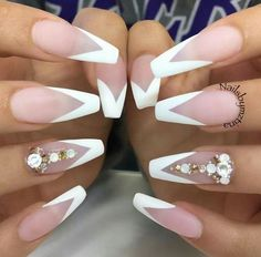 White Matte V French Coffin Nails