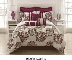 9 Piece Queen Kasbah Berry and Plum Comforter Set