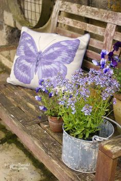 pillow & flowers - idea for front porch swing
