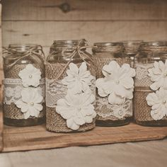 10 Lace and burlap, wedding centerpieces. Lace and burlap wedding. Rustic wedding, barn wedding. Mason jar.