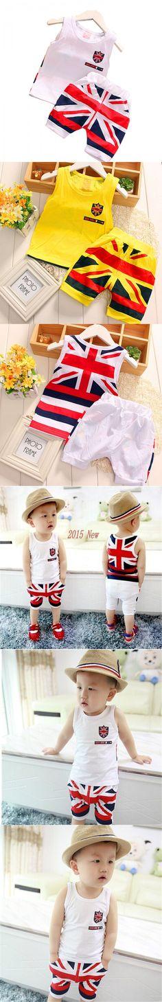 2015 summer style kids clothes cotton British style flag design baby boy/girls clothes Vest+ Shorts 2 pcs clothing set 1-4 year $9.8