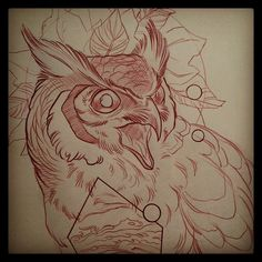 JUPITER. Sketch for today's piece... loving all of these birds I get to do lately. Salute a fine feathered friend today. mike moses www.thedrowntown.com #allthebirds #owlnightlong #spiritustattoo