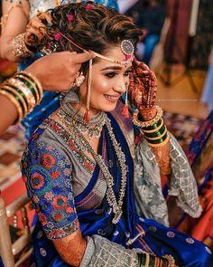 Marathi Bride, Marathi Wedding, Indian Wedding Gowns, Indian Bridal Outfits, Indian Bridal Fashion, Indian Bridal Wear, Bengali Bride, Bollywood Wedding, Bridal Silk Saree