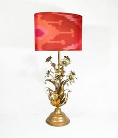 Vintage Ikat Lampshade  Coral Hot Pink Gold by MaterialRecovery, $165.00  I want this lamp!