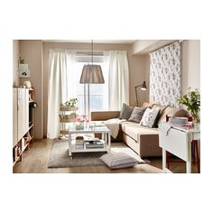 ein wohnzimmer u a eingerichtet mit ektorp bezug f r 3er sofa mobacka in beige rot und. Black Bedroom Furniture Sets. Home Design Ideas