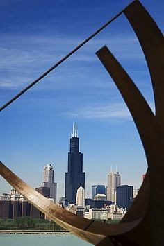 Adler Planetarium sundial and city skyline Chicago Illinois USA