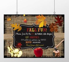 Unique fall festival invitations pumpkin by CustomPrintablesNY