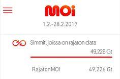 Rajaton netti 18/kk. #moimobiili Melkoisesti bitti meikällä virtaa.