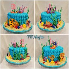 Finding Dory birthday cake White cake with vanilla filling covered in a petal design buttercream icing. Sea grasses and critters all fondant.