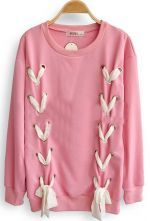 Pink Long Sleeve Ribbon Bow Loose Sweatshirt $35.2