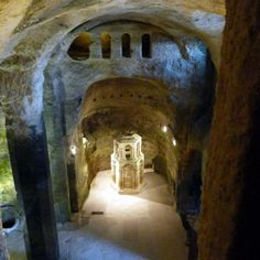 The cavern church of Church of Saint-Jean at Aubeterre-sur-Dronne, Europe's largest underground church.