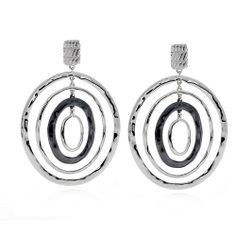 """007 LOVES ME! EARRINGS  Hammered metal circles with gunmetal accent. Post back. 3 3/4"""" Item #10908 $24.00"""