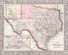 Our collection of old historical maps of Texas span over 175 years of growth. View Texas Maps such as historical county boundaries changes as well as old vintage maps. Most historical maps of Texas were published in atlases. Old World Maps, Old Maps, Antique Maps, Vintage Maps, Vintage Wall Art, Vintage Prints, Galveston Bay, Map Coasters, County Map