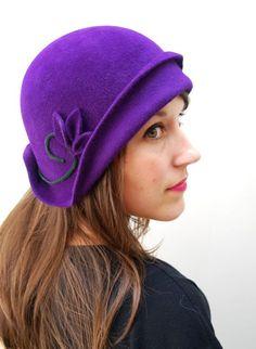 Deep Purple hand draped Cloche / Vintage inspired Womens hat