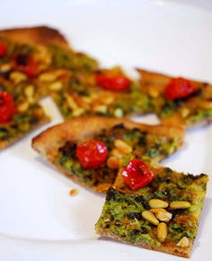 Zucchini Flatbread with Roasted Tomato and Pine Nuts
