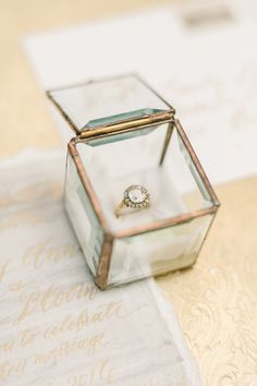Engagement Ring Glass ring box - Soft and elegant, this organic vintage wedding inspiration has a clean feel and relaxed vibe you have to see to believe. Wedding Ring Styles, Wedding Rings Simple, Wedding Ring Box, Wedding Boxes, Wedding Ideas, Wedding Decor, Funny Wedding Photography, Wedding Photography Contract, Vintage Ring Box