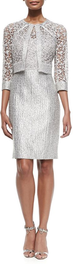 Kay Unger New York Sequined Lace Bodice Cocktail Dress