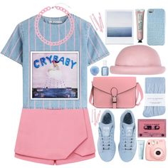so excited for melanie martinez, crybaby by maddyjacobson on Polyvore featuring T By Alexander Wang, Johnstons, adidas, Topshop, River Island, 2Me Style, Lirikos, Polaroid, BOBBY and Chanel