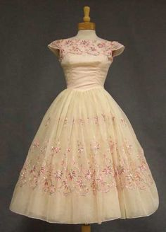 """Vintage 60's Embroidered Chiffon Party Dress"""