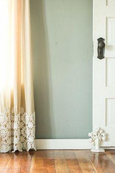 DIY idea- lace on curtain panel