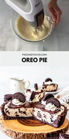 Cookies and Cream Pie, Oreo Pie. With an Oreo crust, cookies and cream filling, topped with chocolate ganache, whipped cream and more Oreos. Oreo Dessert Recipes, Easy Baking Recipes, Tart Recipes, Chocolate Recipes, Sweet Recipes, Fun Desserts, Delicious Desserts, Snack Recipes, Yummy Food