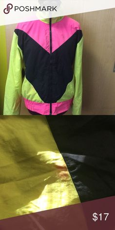 COLORFUL WINDBREAKER Colorful windbreaker with a little pink smeared from fabric on the bottom of jacket (shared in pic ) Sport europa Jackets & Coats