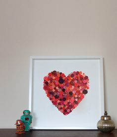 Large Heart   Button Framed Picture by Greatbuttonuk on Etsy, £115.00